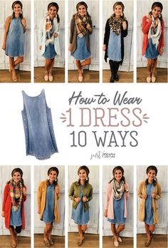 How to wear and style one chambray dress 10 different ways! This dress has been … How to wear and style one chambray dress 10 different ways! This dress has been so popular with Just Posted readers and you can style it so many different ways! Casual Outfits, Cute Outfits, Fashion Outfits, Womens Fashion, Short Women Fashion, Cheap Fashion, Denim Fashion, Ladies Fashion, Casual Dresses