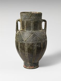 Chlorite vase Inscribed with Cypro-Minoan script or very early Phoenician. This was early script on Cyprus island. Bronze Age, 12th century BC. Source: Metropolitan Museum