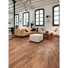 Porcelain Wood Tile Floors for a Modern or Rustic Space - Materialicious Wood Look Tile Floor, Wooden Floor Tiles, Porcelain Wood Tile, Wood Tile Floors, Wooden Flooring, Living Room Flooring, Kitchen Flooring, Rustic Hardwood Floors, Luxury Vinyl