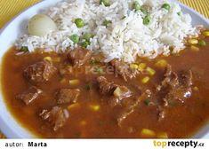 s kukuřicí místo hrášku :) Chana Masala, Chili, Pork, Food And Drink, Beef, Ethnic Recipes, Kale Stir Fry, Meat, Chile