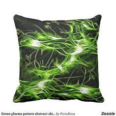 Green plasma pattern abstract shiny splashes throw pillow