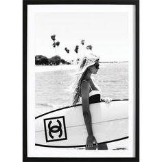 Decorative Wooden Surfboard Wall Art / Modern Art / Hawaiian Art/ Beach Wall Decor / Chanel Wall Decor / Hawaiian Decor / black and white Chanel Wall Art, Chanel Decor, Chanel Art, Prada Poster, Chanel Poster, Hawaiian Decor, Hawaiian Art, Ocean Music, Poster Prints