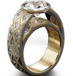 Couture Ring by Zoltan David in Platinum with 22K gold inlay