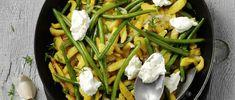 Spätzli-Bohnen-Pfanne mit Frischkäse Green Beans, Vegetables, Food, Food Portions, Rezepte, Pepper, Meal, Vegetable Recipes, Hoods