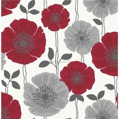 Bq lucienne grey red floral wallpaper red wallpaper wallpaper fine decor poppie floral wallpaper fd14866 poppy feature wall white red grey mightylinksfo