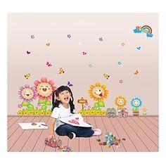 Happy Smiling Sunflower Wall Sticke Art Decal DIY Nursery Baby Kids Children Home Decor Sofa Decals Stickers Cheap Wall Stickers, Flower Wall Stickers, Wall Decor Stickers, Stickers Online, Wall Decals, Sticker Vinyl, Kids Room Art, Art Kids, Pvc Wall
