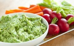 Avocado Hummus Dip |   1 can of garbanzo beans, drained and rinsed  1 avocado, cubed  juice from 1/2 of a lime  1 tablespoon olive oil  1/2 teaspoon sea salt  1/4 teaspoon cayenne pepper  1/4 teaspoon cumin  BLEND