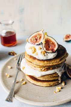 Fluffy grain free pancakes with fresh figs and whipped cream. So fluffy, tender + crisp in all the right places - a grain free pancake dream come true! Winter Desserts, Just Desserts, Dessert Recipes, Yummy Treats, Yummy Food, Pancakes And Waffles, Love Food, Sweet Recipes, The Best