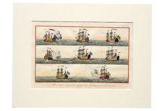 """""""Hand-colored original copper engraving of ship from Encyclopédie, ou dictionnaire raisonné des sciences, des arts et des métiers by Diderot, Paris, 1779."""""""