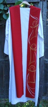 """handmade Red clergy stole - """"Dancing with the Holy Spirit"""" - Mn Artists"""