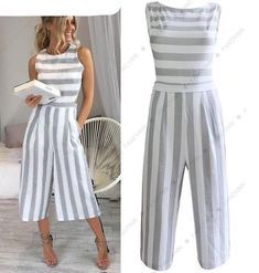 High Quality Cotton Linen Striped Jumpsuits Romper 2018 Women Sets One Pieces Fitness Wide Leg Lady Office Work Playsuits Sporty Outfits, Classy Outfits, Summer Outfits, Fashion Outfits, Designs For Dresses, Indian Designer Outfits, African Fashion Dresses, Overall, Look Chic
