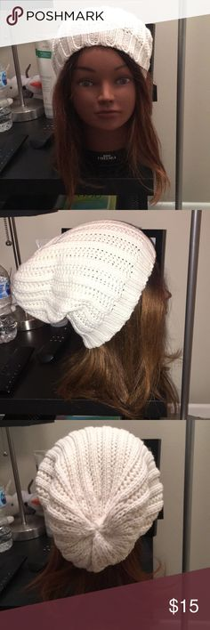 Beanie hat! White knit beanie hat! Never worn!  **Can ship the same day** **Offers are always accepted** Merona Accessories Hats