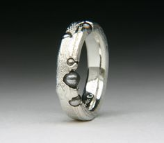 Jewelry and Watches : Float Cast ring with Steel Ball Bearings | Blouin Boutique | Jewel Curnow | Sterling Silver Cuttlefush bone Float Cast ring with Steel Ball Bearings