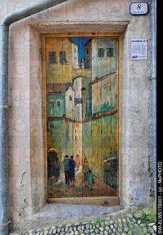 painted doors of Valloria, Italy, Liguria, Riviera dei Fiori
