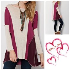 """MEGA SALE """"Tabitha"""" Boxy Top S,M LIGHT KNIT WITH LONG SLEEVE AND OUTSEAM DETAIL. COLOR BLOCK KNIT BOXY TOP Content: 95% RAYON, 5% SPANDEX. Please let me know what size you want and I will make you a listing.  Thank you!! Tops Tunics"""