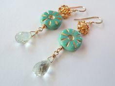 Sunny Day Green Amethyst and Czech Glass Earrings – Beth Lerner http://bethlernerjewelry.com/collections/frontpage/products/sunny-day-green-amethyst-and-czech-glass-earrings