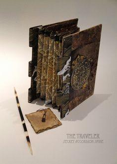 The Traveler, piano hinge book. secret accordion spine