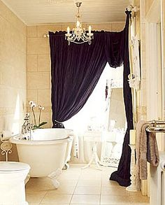 Black and Cream.  Sumptuous curtains make this so luxurious