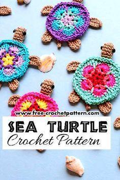 Adorable Crochet Sea Turtle Applique Pattern