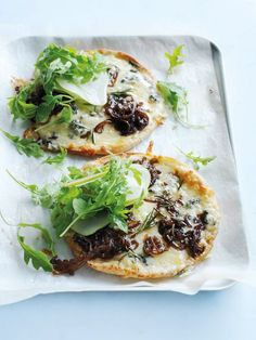 blue cheese, caramelised onion and pear pizzas from donna hay