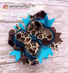 Leopardo arco de pelo turquesa y marrón OTT doble apilada