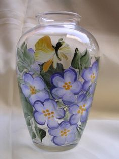 ONE STROKE VIOLETS GLASS VASE - I want to learn to do this, have you ever done one stroke art? Wondering how hard it is