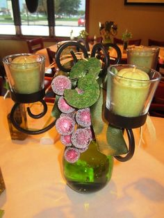 Centerpieces from the shower, also with the table number on them.