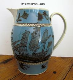 FABULOUS PEARLWARE, MOCHA LIVERPOOL JUG WITH SHIP DECORATION Price: $3500.00