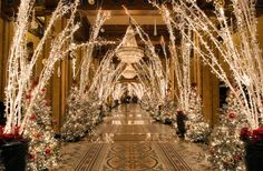 10 Hotels with over the top Christmas Decorations. Shown here: The Roosevelt New Orleans