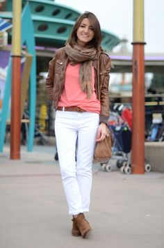 This outfit makes me tempted to try white pants... it just brings out the colors on the top so well