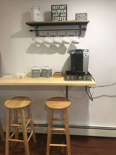 Apartment kitchen bar counter Ideas for 2019 Kitchen Bar Counter, Coffee Bars In Kitchen, Small Kitchen Tables, Coffee Bar Home, Home Coffee Stations, Diy Kitchen, Kitchen Decor, Kitchen Design, Small Kitchens