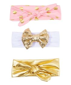 Love this Girly Bowtique Pink & Gold Metallic Headband Set by Girly Bowtique on #zulily! #zulilyfinds