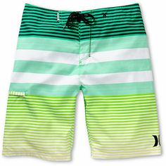 The Hurley Echo Neon Green stripe board short