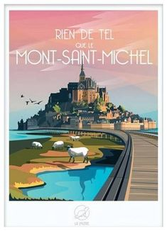 Poster Vintage, Vintage Travel Posters, Victor Brauner, Skyline Painting, Mont Saint Michel, Beautiful Places To Travel, Advertising Design, Close Image, Photo Illustration