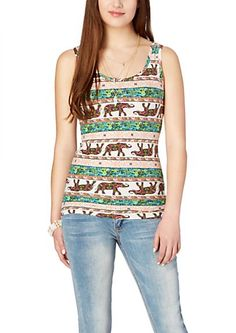 image of Soft Brushed Paisley Elephant Tank Top