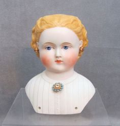 Rare Parian Doll Head Decorated Shoulders & Inserted Brooch