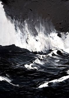 Black waves, stormy sky. Probably exactly what Cassie feels like inside. | painting by Werner Knaupp
