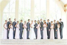 Dallas wedding photographer, bridal party pictures, blush bridesmaid dresses, gray groomsmen tuxes, Ashton Garden's Summer Wedding | Dallas, TX » Mary Fields Photography