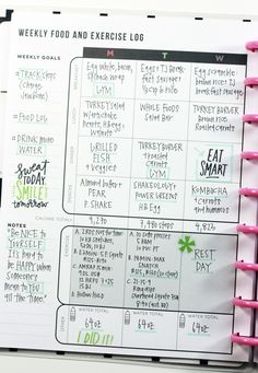 The Happy Planner Fitness Planner - I like how she has her workouts and meals on one page and recipes are filed in there too for the week.