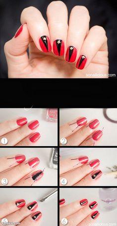 Uñas rojas con triángulos negros y strass - http://xn--decorandouas-jhb.com/unas-rojas-con-triangulos-negros-y-strass/