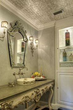 mirror...table...sink...ceiling...wow use creamy peachy ivory marble, peachy gray walls, dream bath - with huge tub of course lol