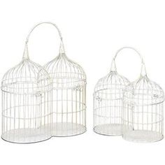 , these intriguing accents showcase a captivating double-barreled silhouette and distressed white finish.    Product: 1 Small and 1 large birdcage Construction Material: Metal Color: Antique white Features: Double-barreled silhouette Dimensions: 18 H x 10 W x 18 D    Note: Not recommended for outdoor use  Cleaning and Care: Wipe with dry cloth.