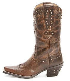 Brown cowboy boots are a basic unavoidable wardrobe staple, it's nice when they come with rhinestone details. These Ariat Brown Rhinestone Boots feature a snip toe, brass studs and rhinestones. Not...