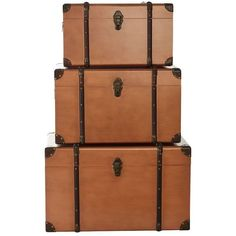 Industrial Copper Aviator Trunks S/3 (€525) ❤ liked on Polyvore featuring home, home decor, small item storage, storage trunk, copper home decor and copper home accessories