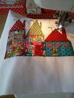 A new take on my 'Trio of Houses' range. I think tye bright colours work well in this style. Https://facebook.com/SewnbyCollette