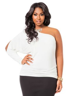 60c7aec5db907 Clearance Womens Plus-Size Clothing On Sale. Cold Shoulder Top OutfitWhite  Cold Shoulder TopOne ShoulderAshley StewartFashion ...
