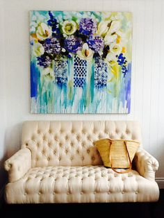 My office wall - Bloom Interiors One Stroke Painting, Pretty Room, Pallet Painting, Abstract Flowers, Artist Canvas, Beautiful Paintings, Art Decor, Home Decor, Flower Art