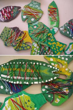 Cardboard & string fish I LOVE this site SO much