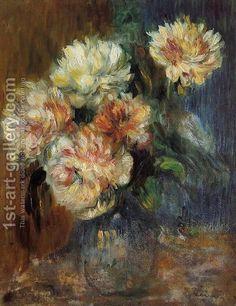 Vase Of Peonies  By Pierre Auguste Re