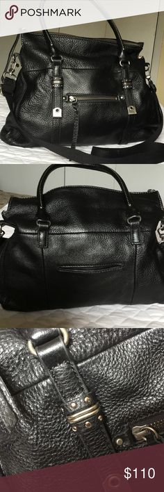 """Leather Cross Body Bag (NWOT) Exquisite butter-soft leather cross body with distressed silver hardware! Not a single flaw! Outside pockets on front and back. One zippered pocket and two open pockets inside. Braided zipper pulls. 14"""" L (bottom), 17"""" L (@ widest part in the middle) x 13"""" H x 4"""" W. The Sak Bags Crossbody Bags"""
